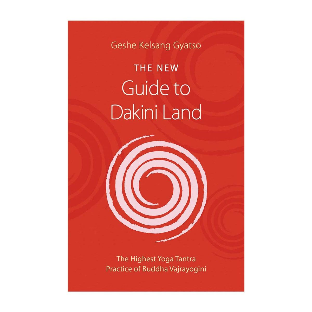 The New Guide to Dakini Land book cover, showing a joy swirl on a red background
